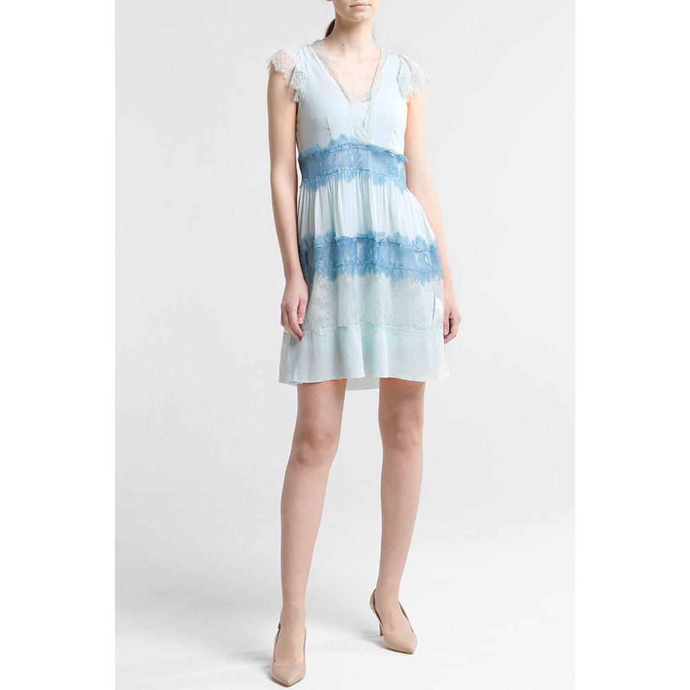 Голубое платье Twin-Set с кружевом