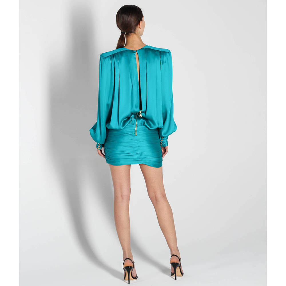 Шелковое платье Balmain с запахом и объемными рукавами