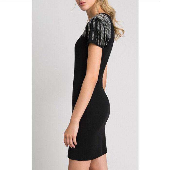Черное платье-футляр Twin-Set с декоративными погонами