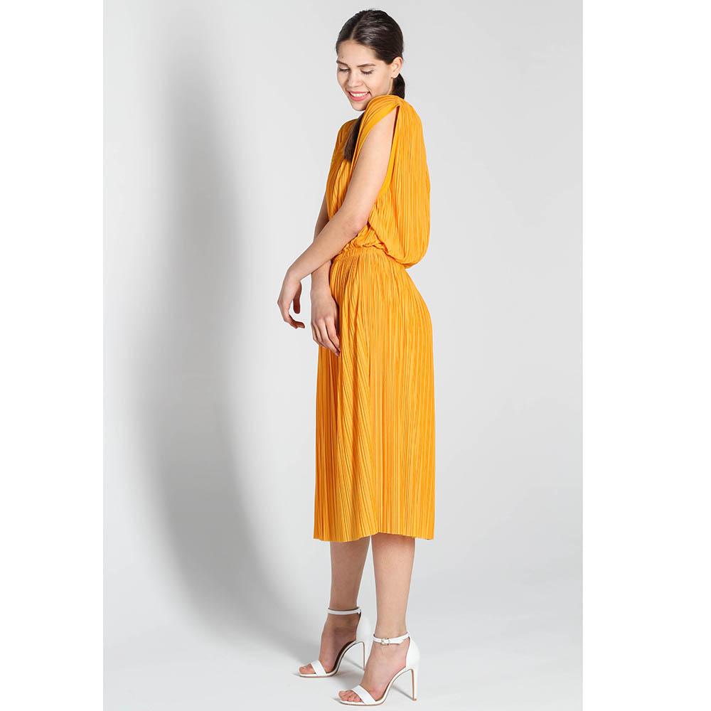 Плиссированное платье-миди Stella McCartney оранжевого цвета