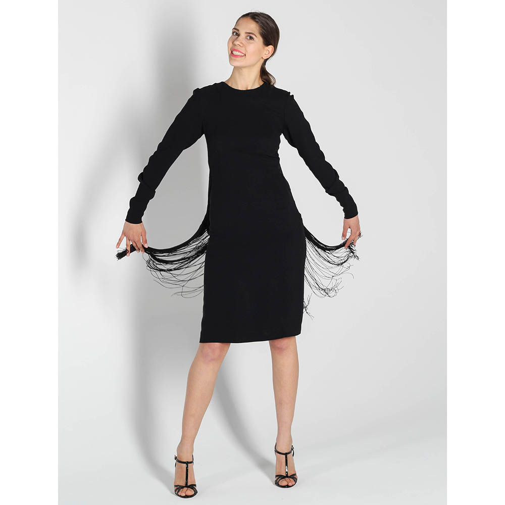 Платье с длинным рукавом Stella McCartney с бахромой и открытой спинкой