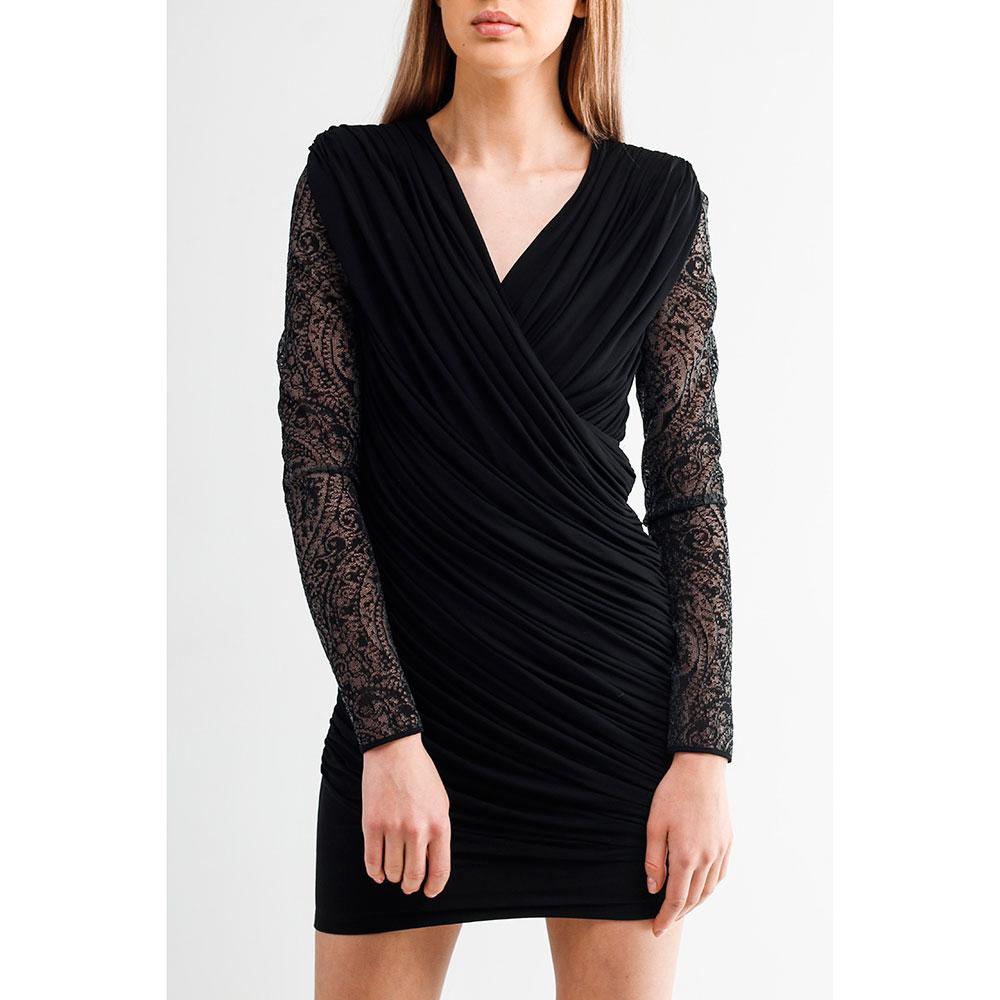 Короткое кружевное платье Balmain черного цвета