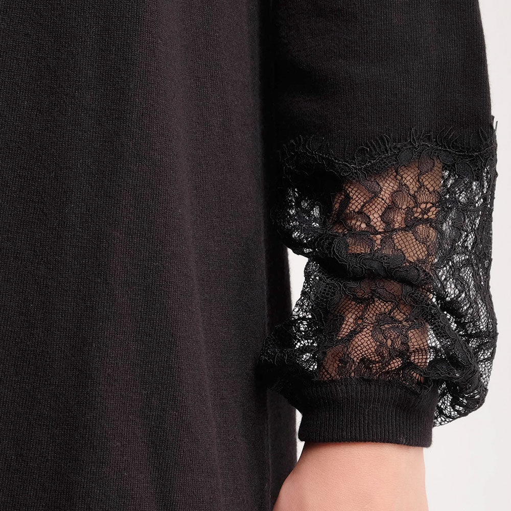 Черное мини-платье Twin-Set с длинными рукавами