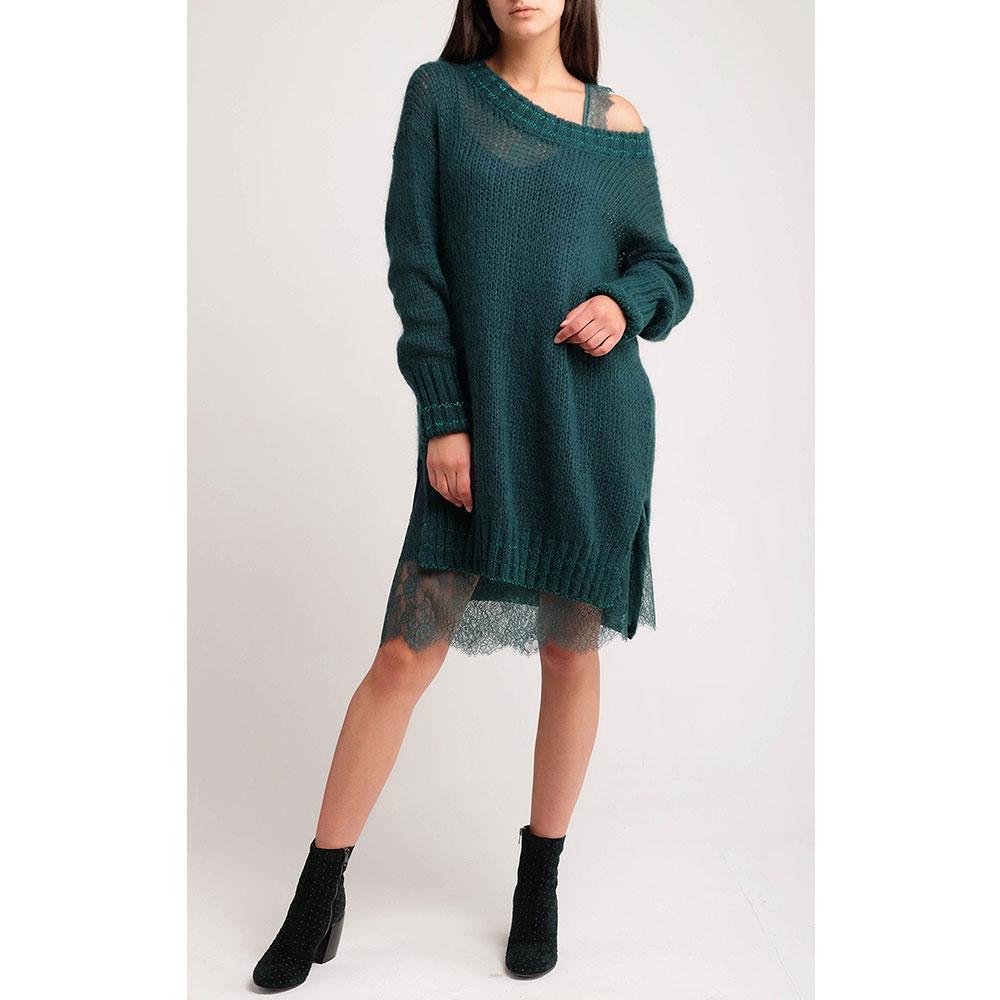 Вязаное изумрудное платье Twin-Set с кружевной подкладкой