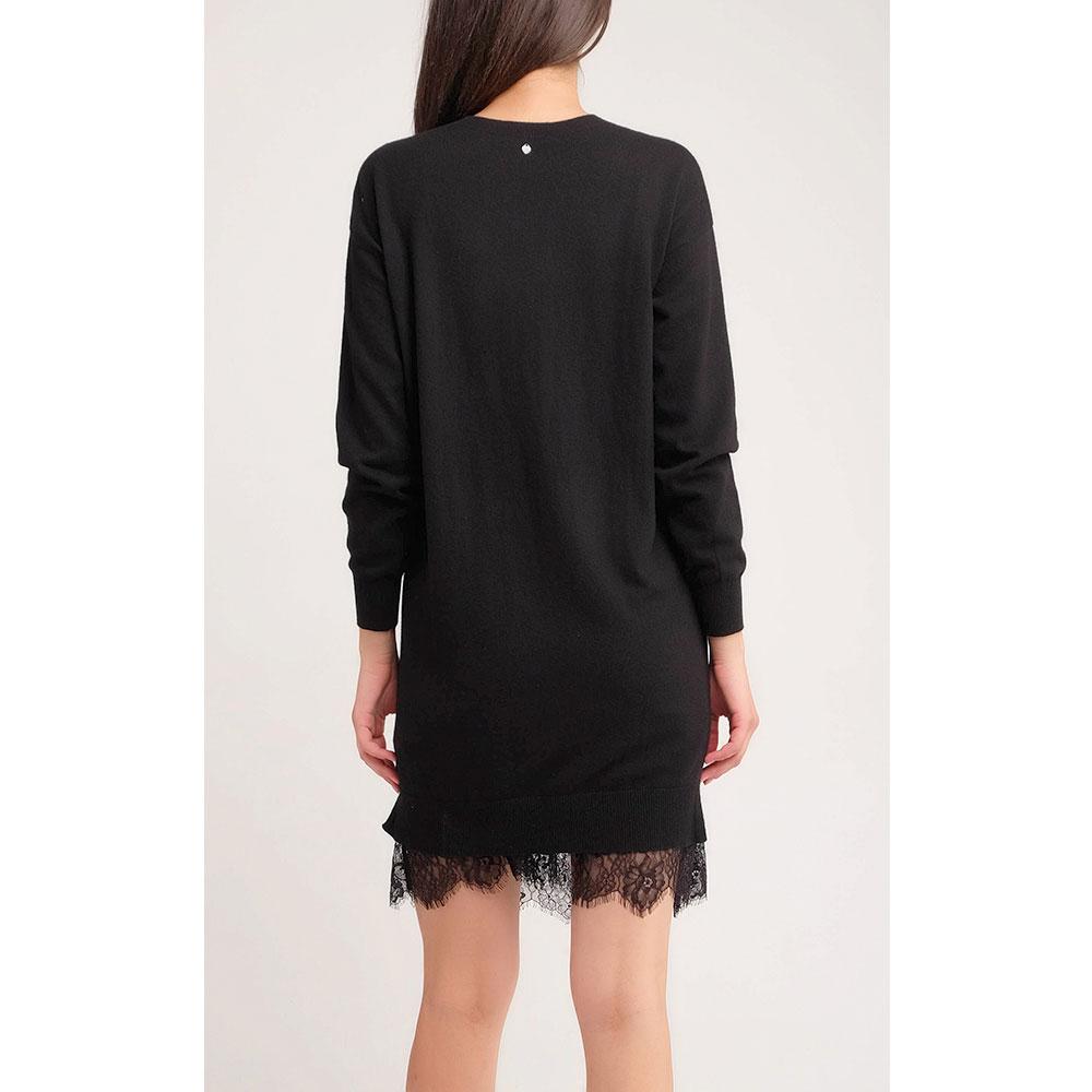 Черное платье Twin-Set прямого кроя с кружевом