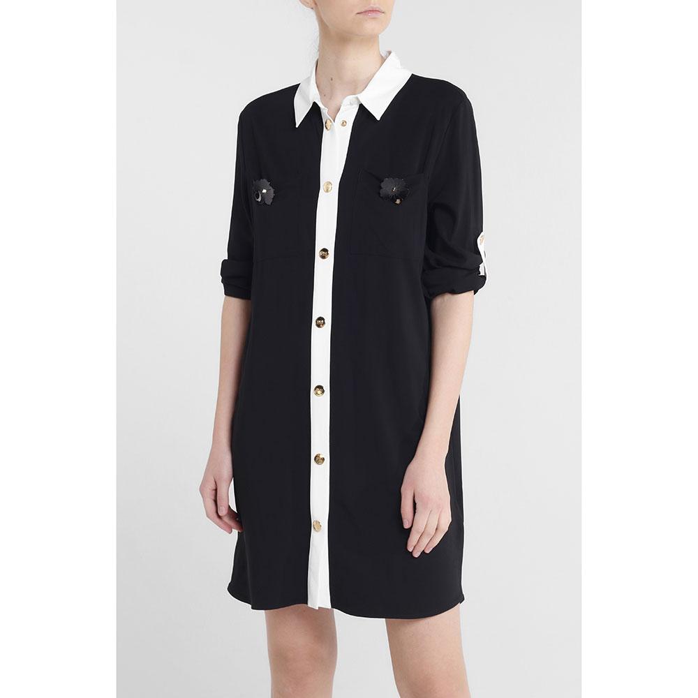 Черное платье-рубашка Cavalli Class до колен