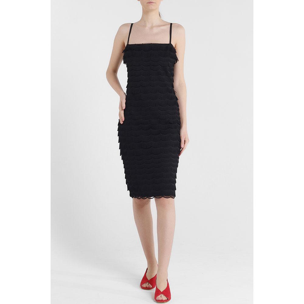 Черное платье Cavalli Class с бахромой