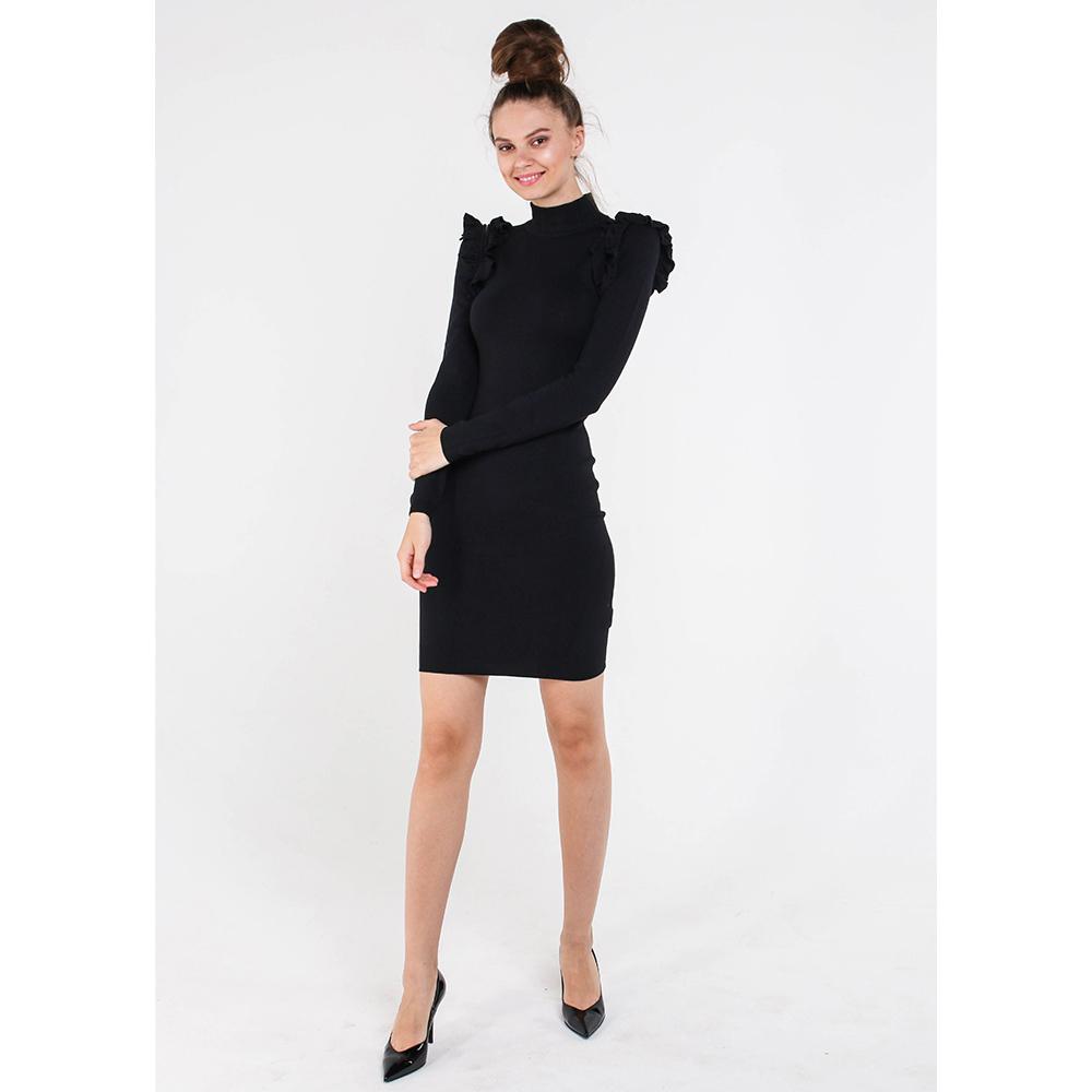 Черное платье-футляр Marciano с рюшами