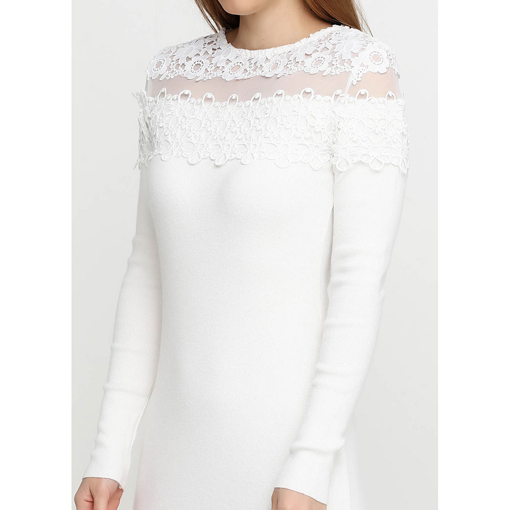 Белое платье-футляр Cashmere Company с длинными рукавами