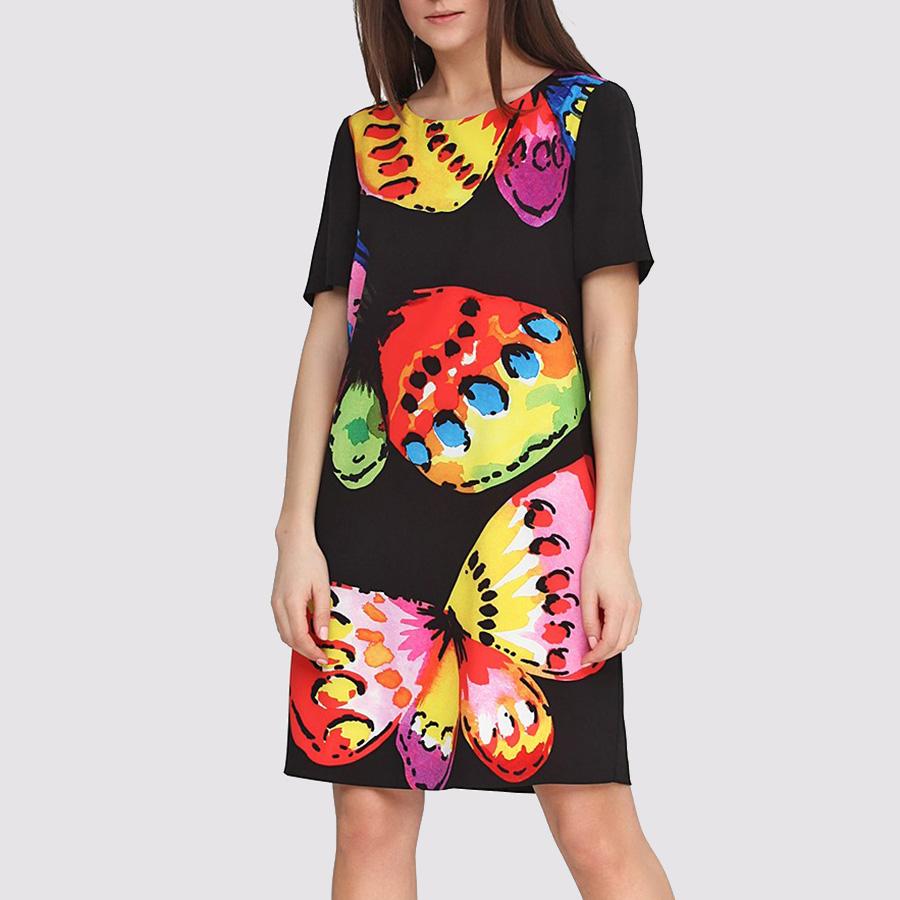 Платье черное Boutique Moschino с принтом-бабочками