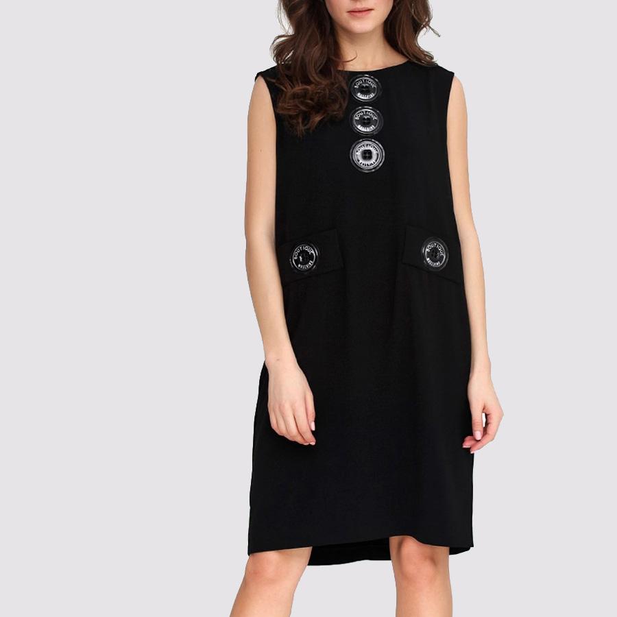 Прямое черное платье Boutique Moschino с декором