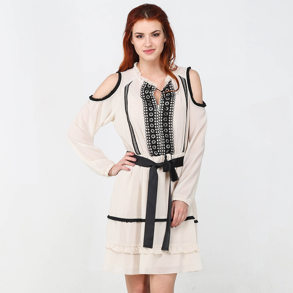 Бежевое платье Blugirl Blumarine с длинными рукавами