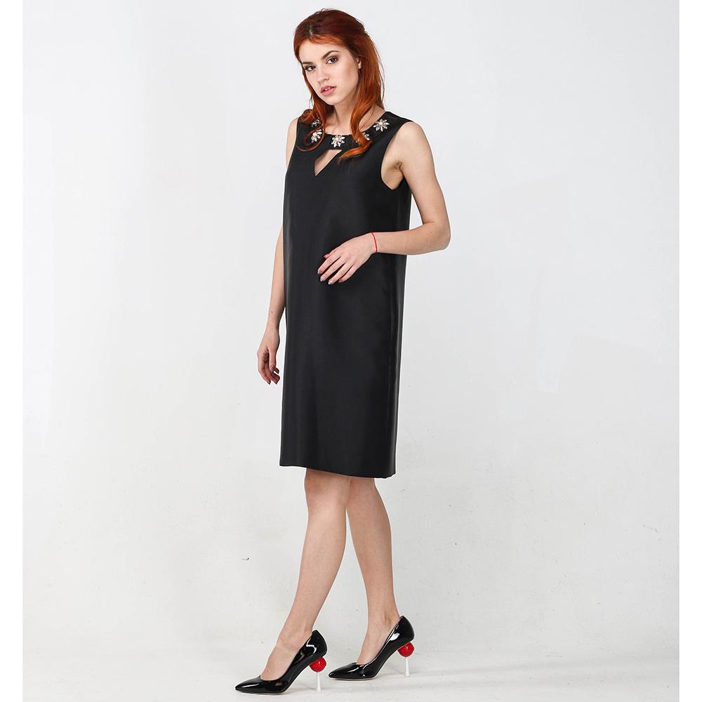 Платье Blugirl Blumarine черного цвета с декором-стразами