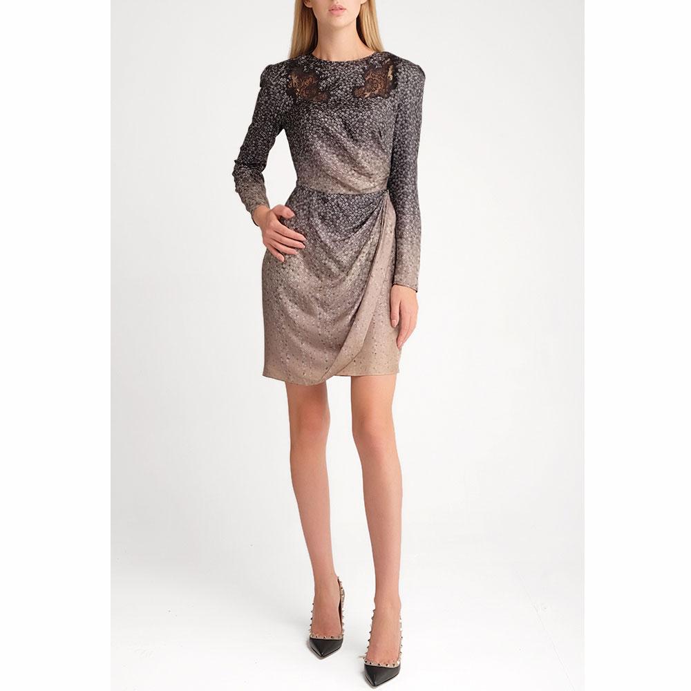 Шелковое платье Fendi с флористическим принтом