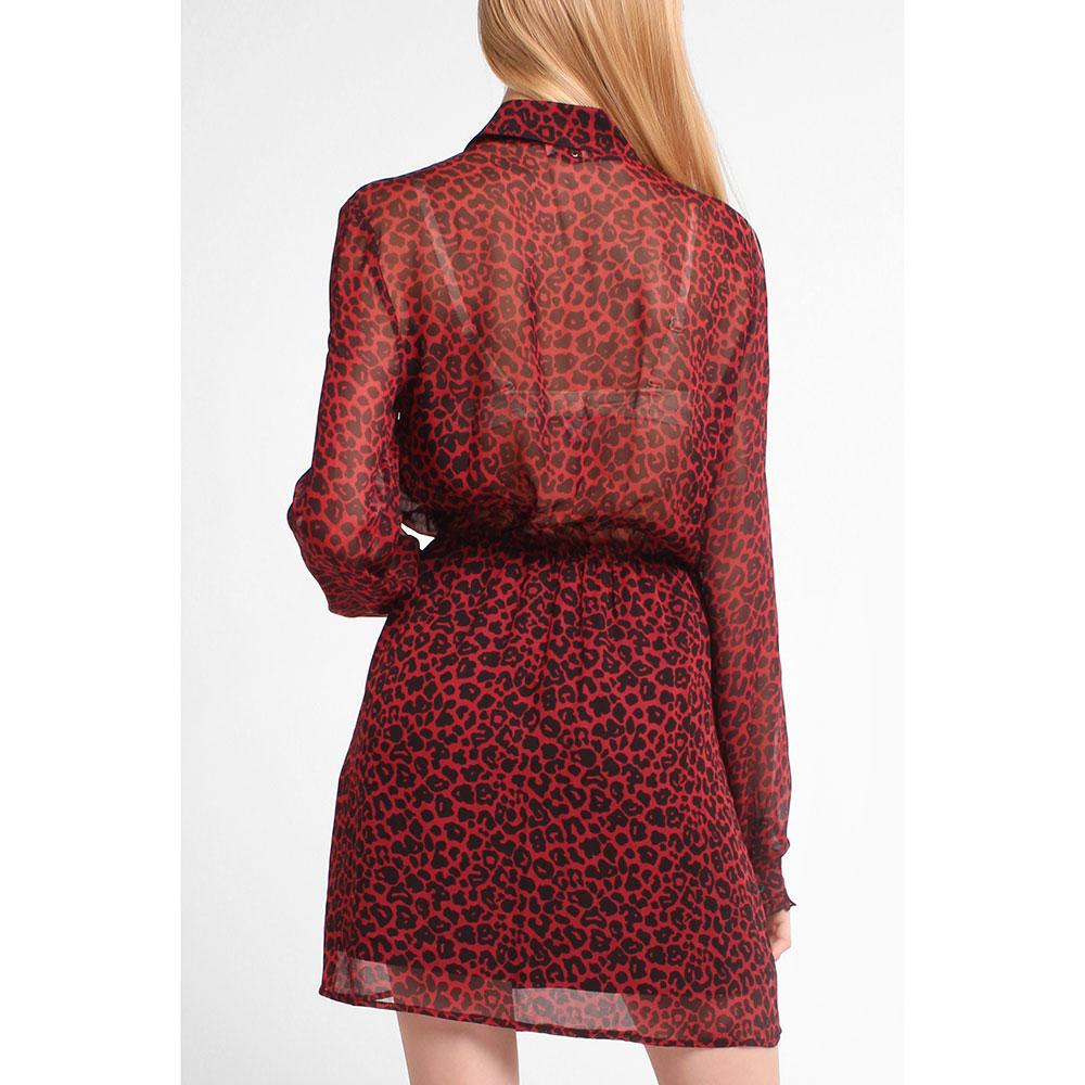 Бордовое платье Liu Jo с леопардовым принтом