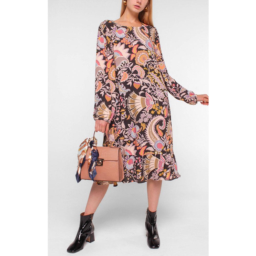 Платье-миди Luisa Cerano черное с принтом