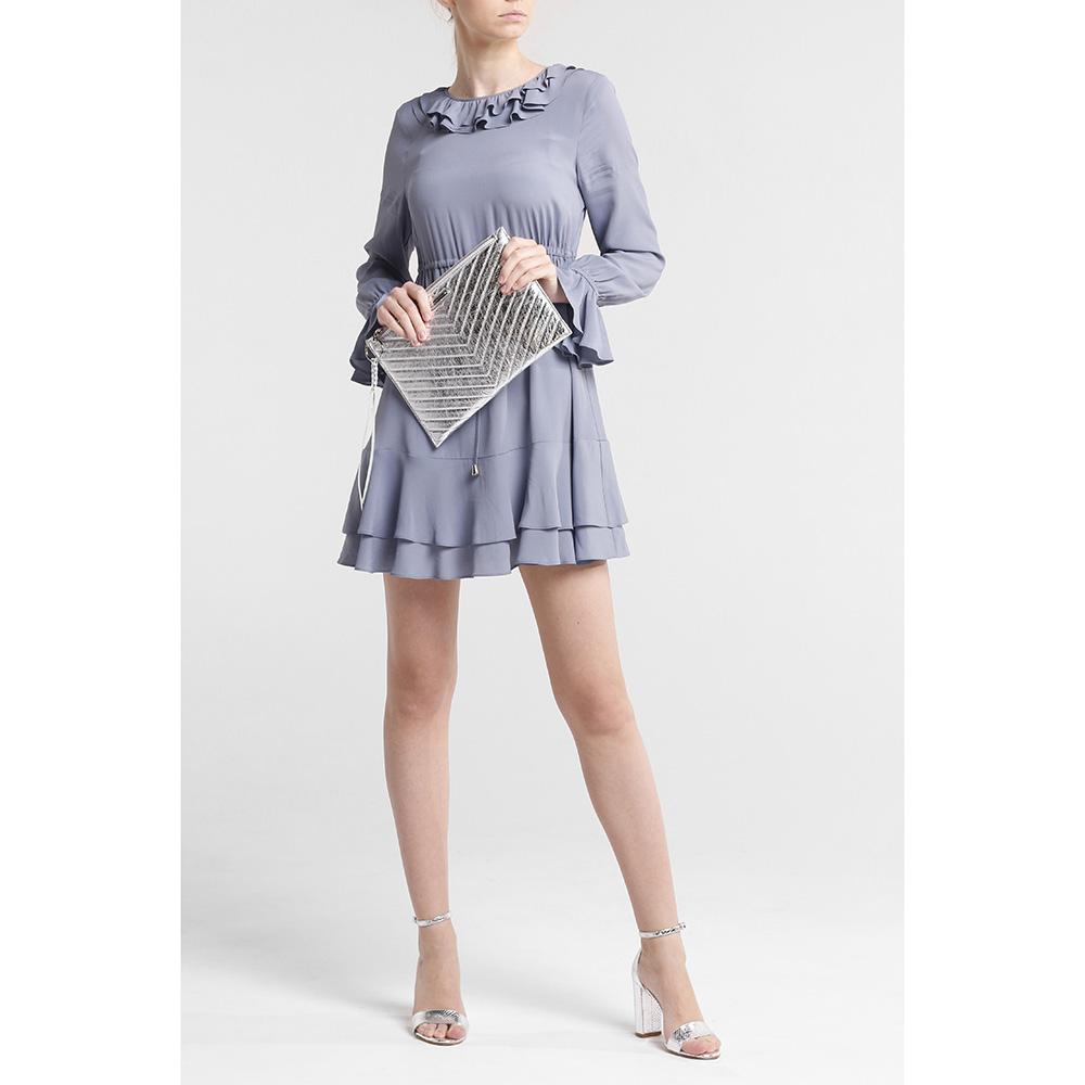 Платье Twin-Set с рюшами голубого цвета