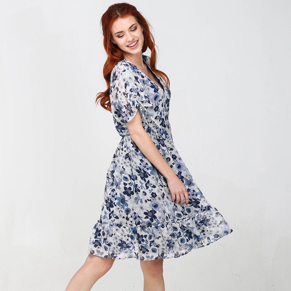 Платье Twin-Set с цветочным принтом синего цвета