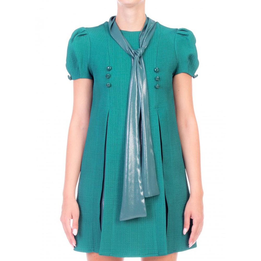 Зеленое платье Elisabetta Franchi с бантом