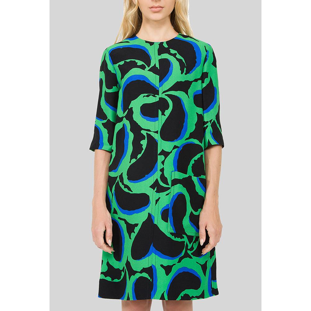 Зеленое платье Marni с рукавом три четверти