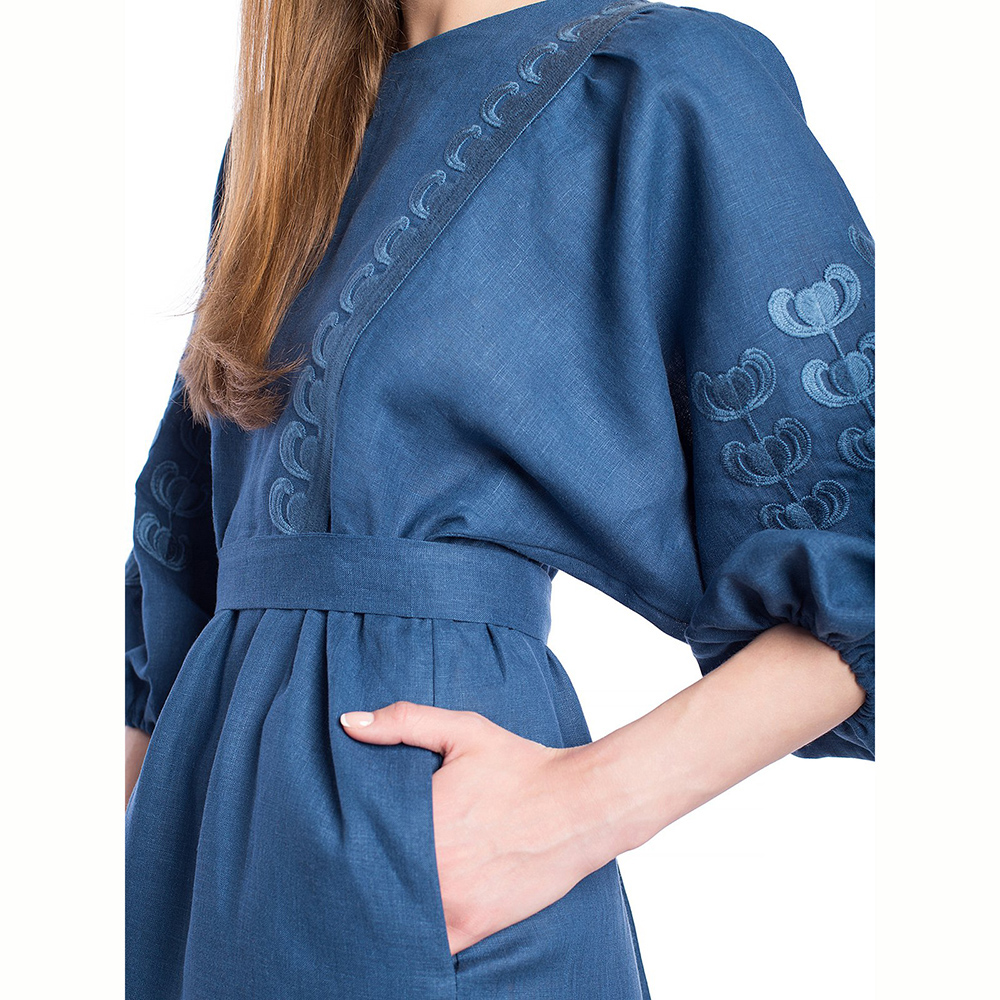 Синее платье Etnodim Dolphin с вышивкой