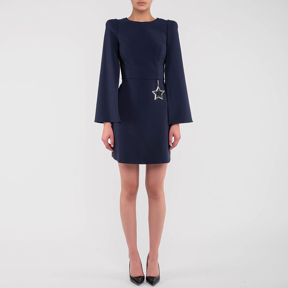 Темно-синее платье Elisabetta Franchi симметричного кроя