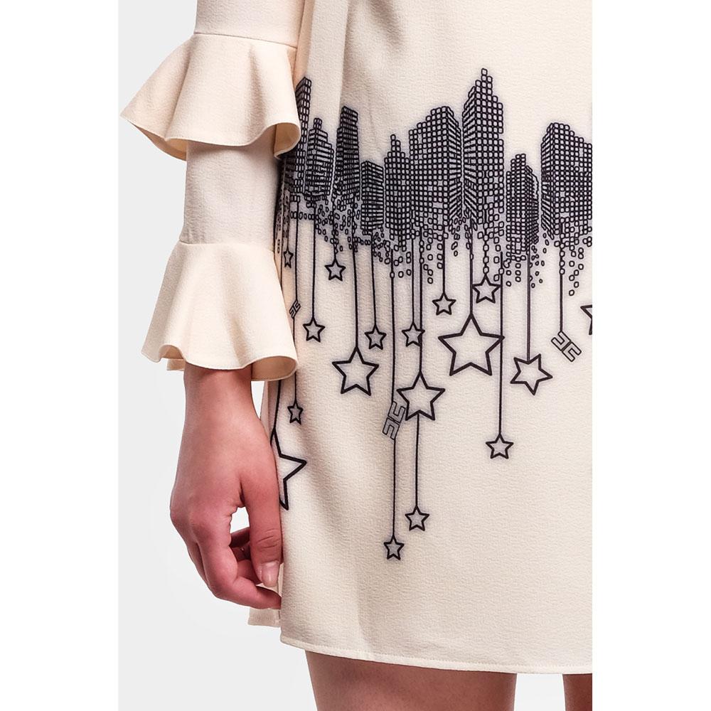 Коктейльное платье Elisabetta Franchi молочного цвета с принтом