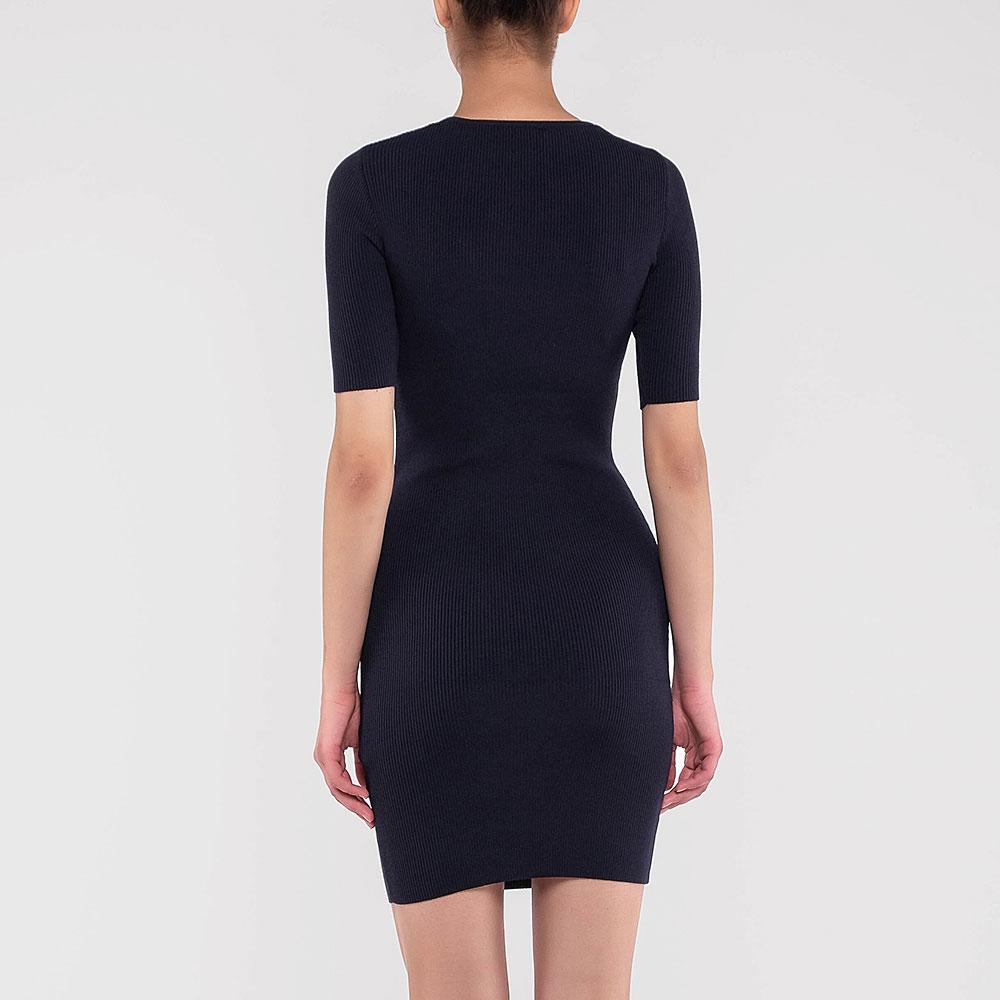 Синее платье Elisabetta Franchi с коротким рукавом