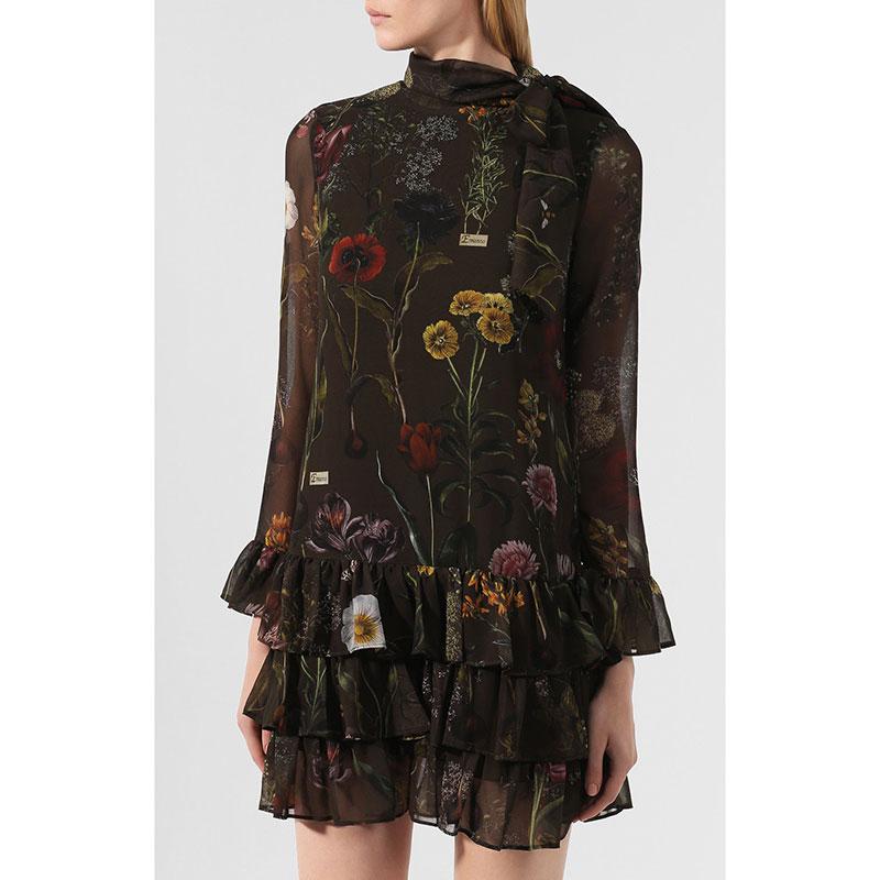 Коричневое платье Ermanno Scervino с цветочным принтом