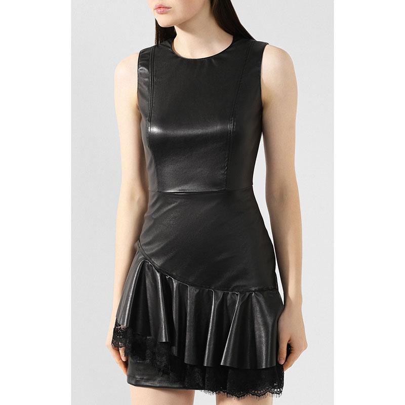 Черное платье Ermanno Scervino с асимметричными оборками