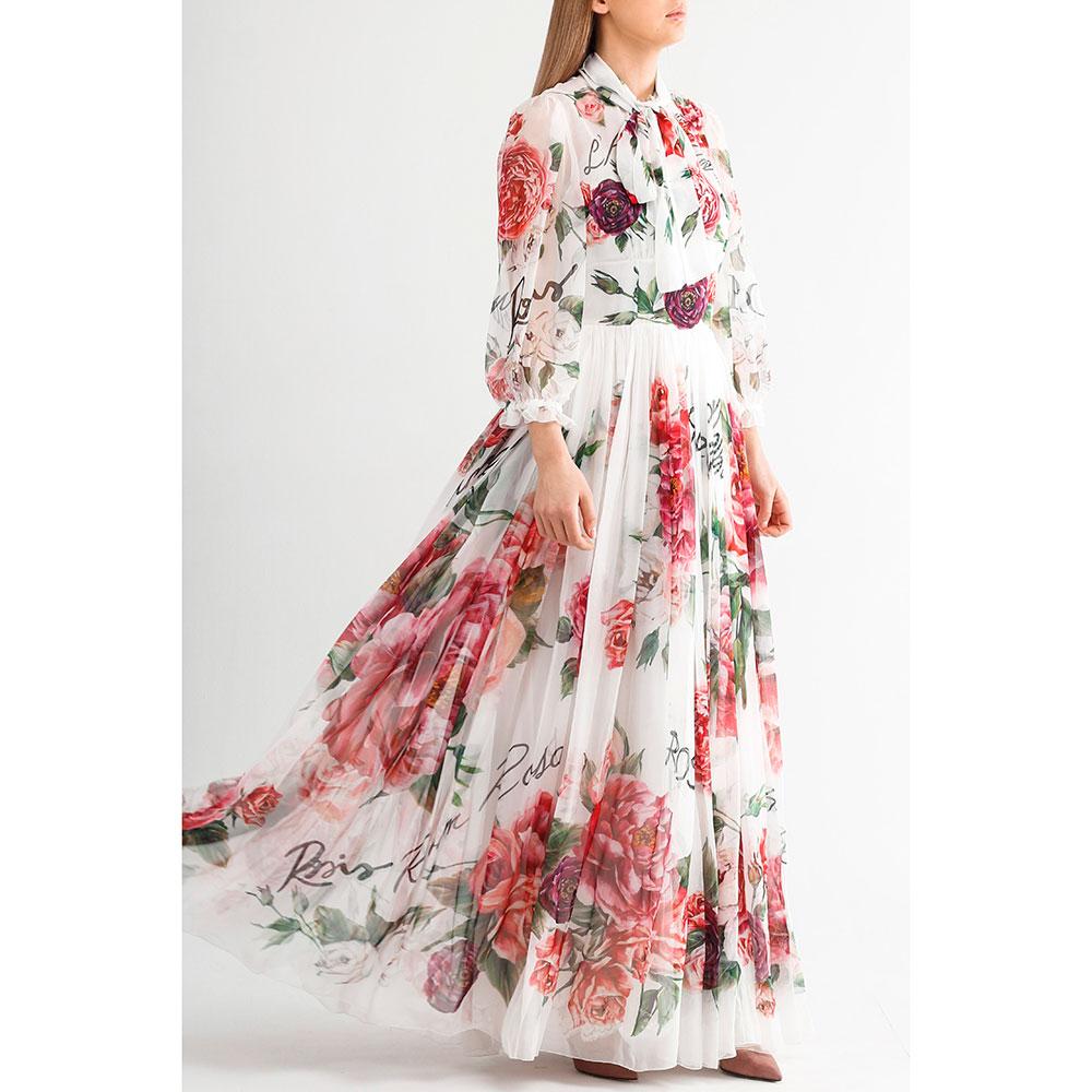 Шеловое платье-макси Dolce&Gabbana с воротником