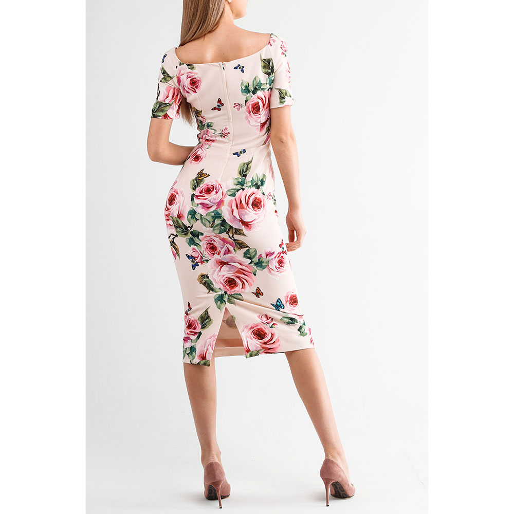 Платье Dolce&Gabbana на молнии с принтом-розами