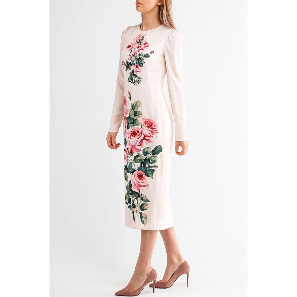 Платье миди Dolce&Gabbana с принтом-розами