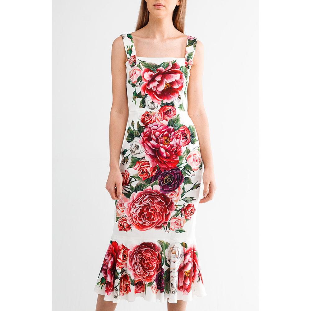 Платье миди Dolce&Gabbana с пионами и розами
