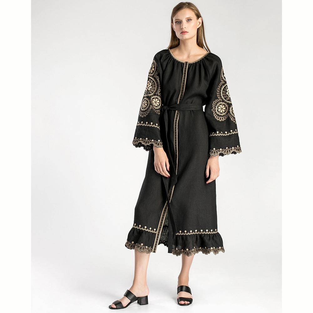 Черное платье Etnodim Gothic вышитое гладью