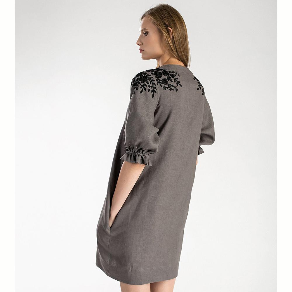 Серое платье-кардиган Etnodim Grace с флористической вышивкой