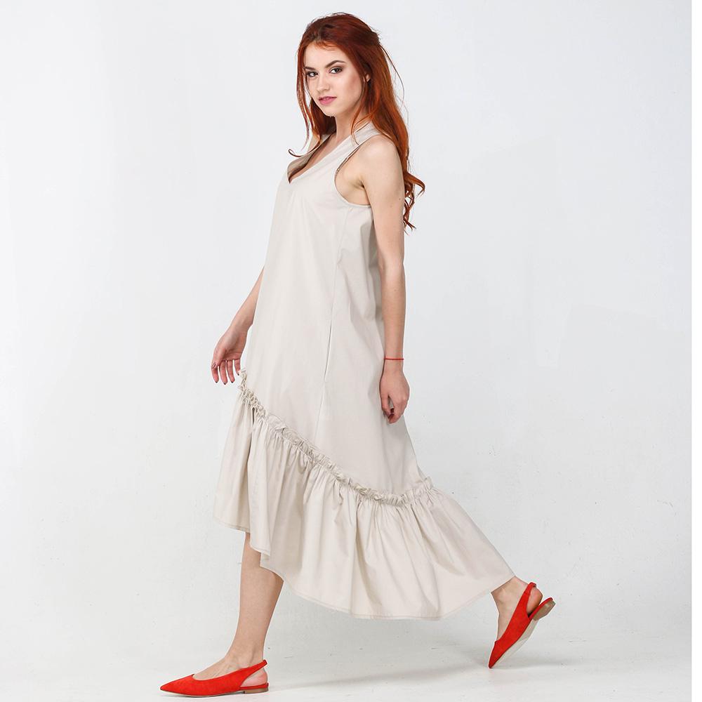 Бежевое платье миди Kaos с пышной юбкой