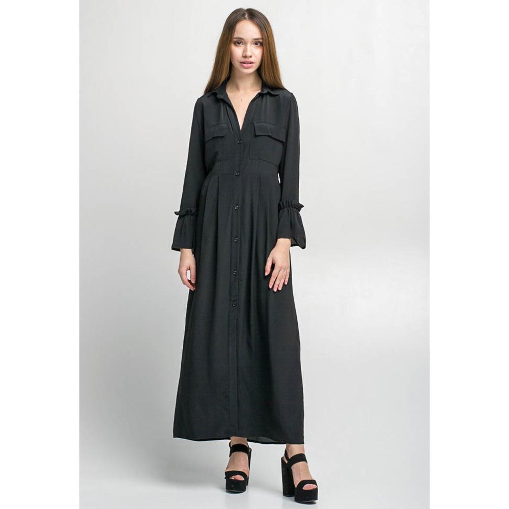Легкое длинное платье Kaos черного цвета с воланами