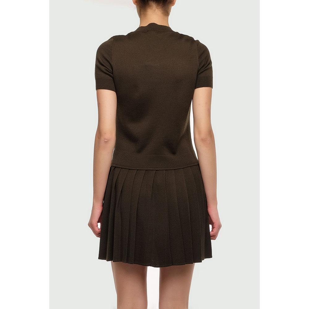 Коричневое платье Love Moschino с плиссированной юбкой