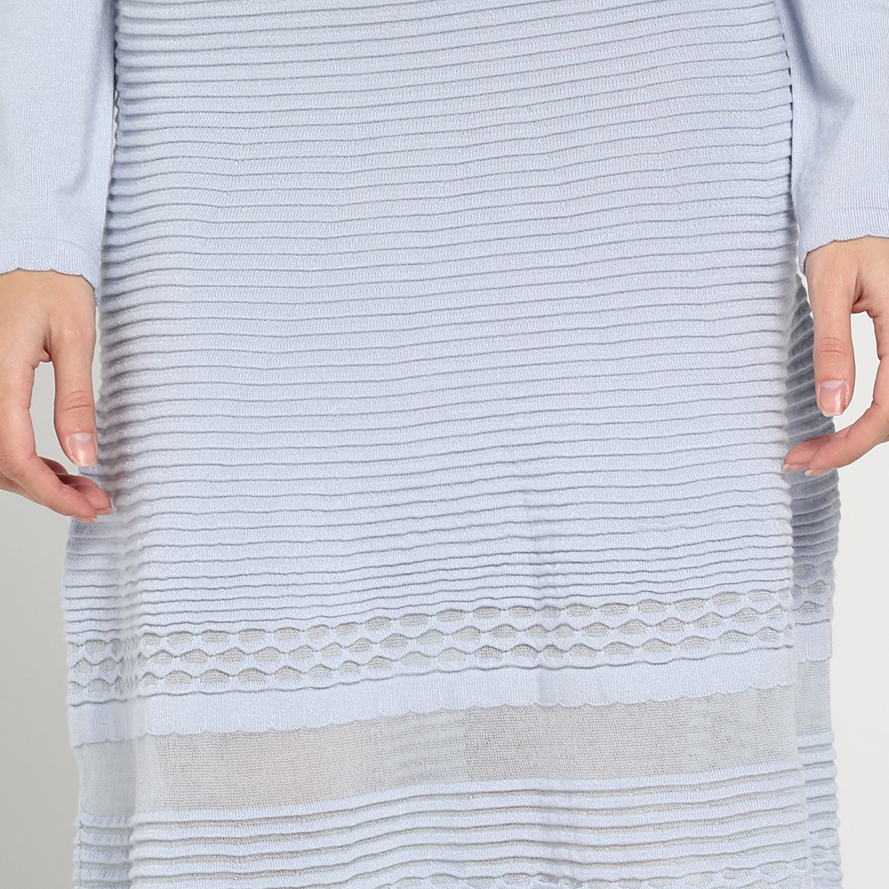 Трикотажное голубое платье Blugirl Blumarine с длинным рукавом