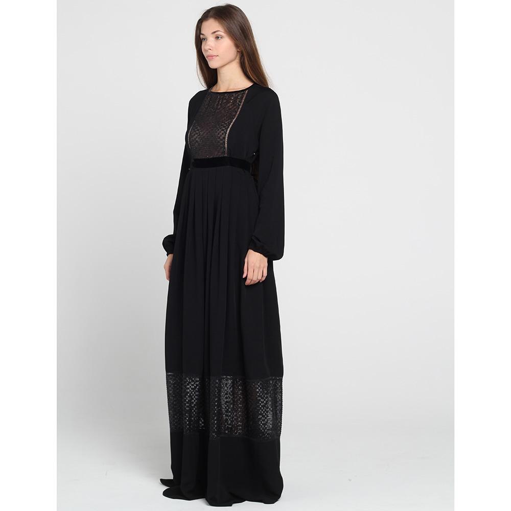 Черное платье в пол Blugirl Blumarine с полупрозрачными кружевными вставками
