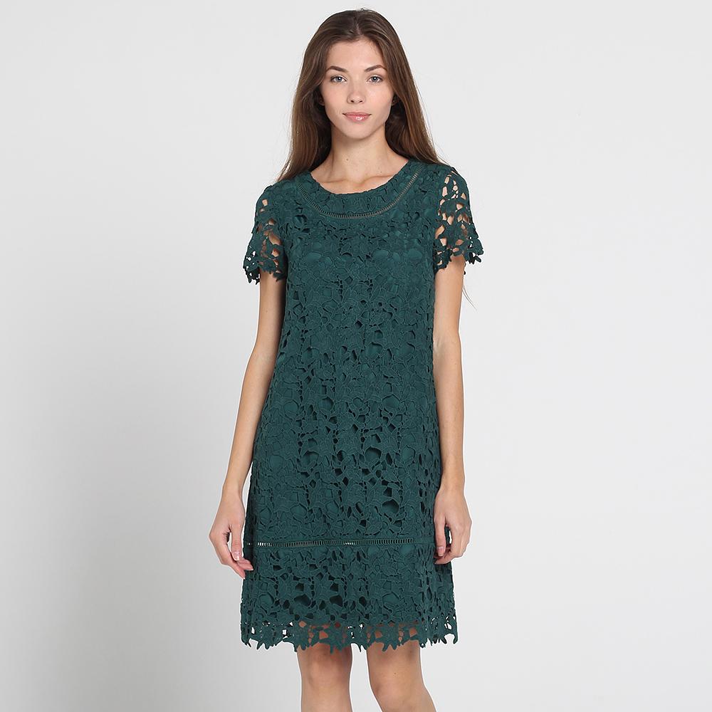 Зеленое кружевное платье Blugirl Blumarine с коротким рукавом