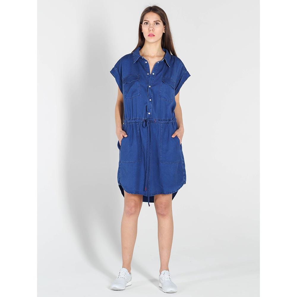 Платье-рубашка Twin-Set синего цвета с карманами