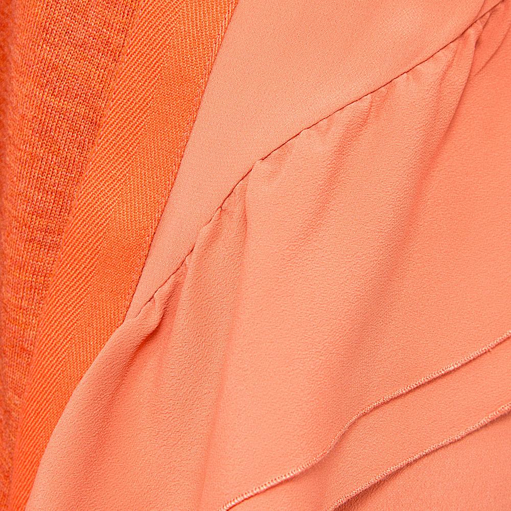 Оранжевое платье N21 с декором-рюшами