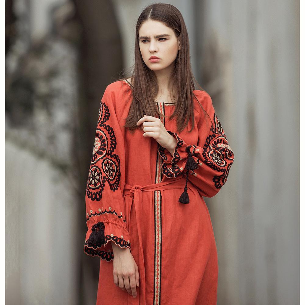 Платье Etnodim Orange терракотового цвета с поясом