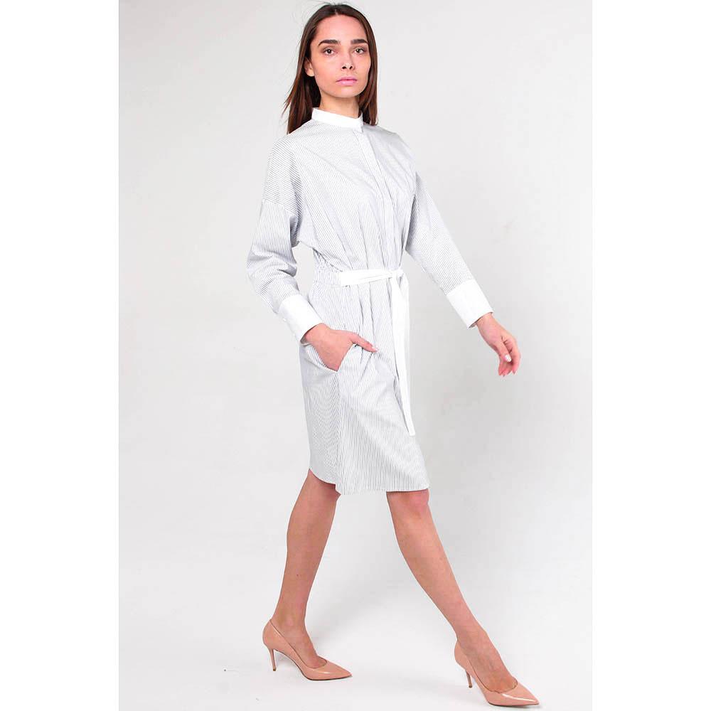 Серое платье Peserico в полоску с поясом