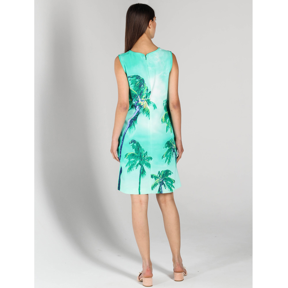 Зеленое платье без рукава P.A.R.O.S.H. с пальмами