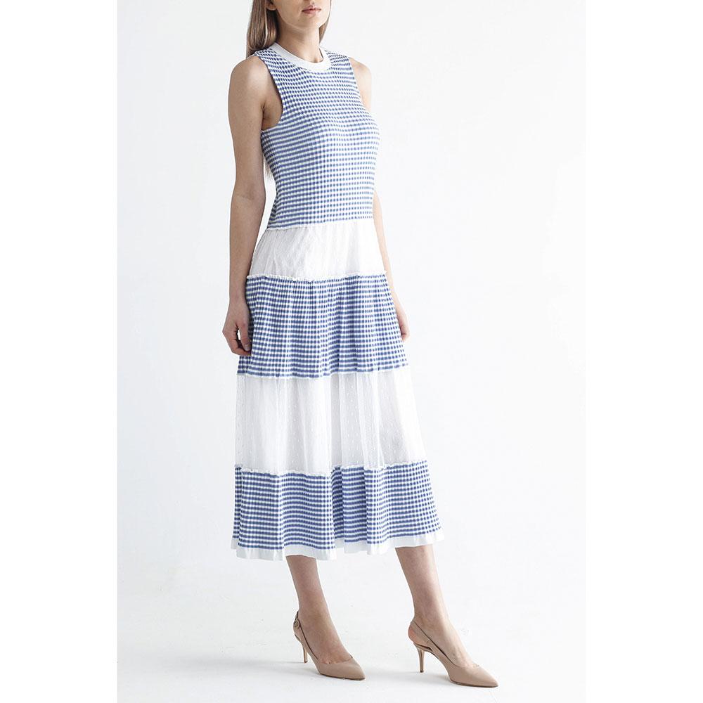 Платье-миди Red Valentino в бело-синюю полоску