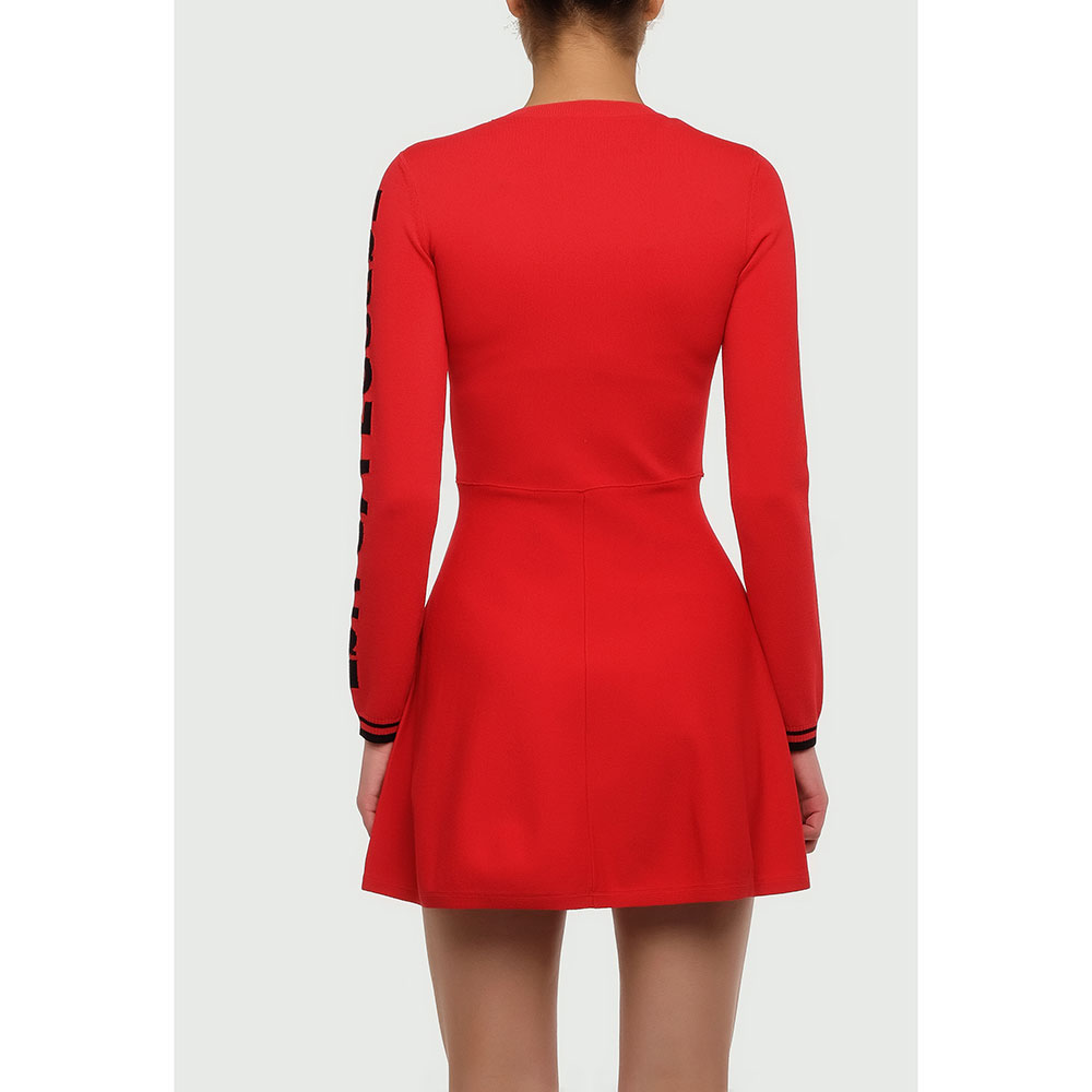 Красное платье Red Valentino с полосой на манжетах