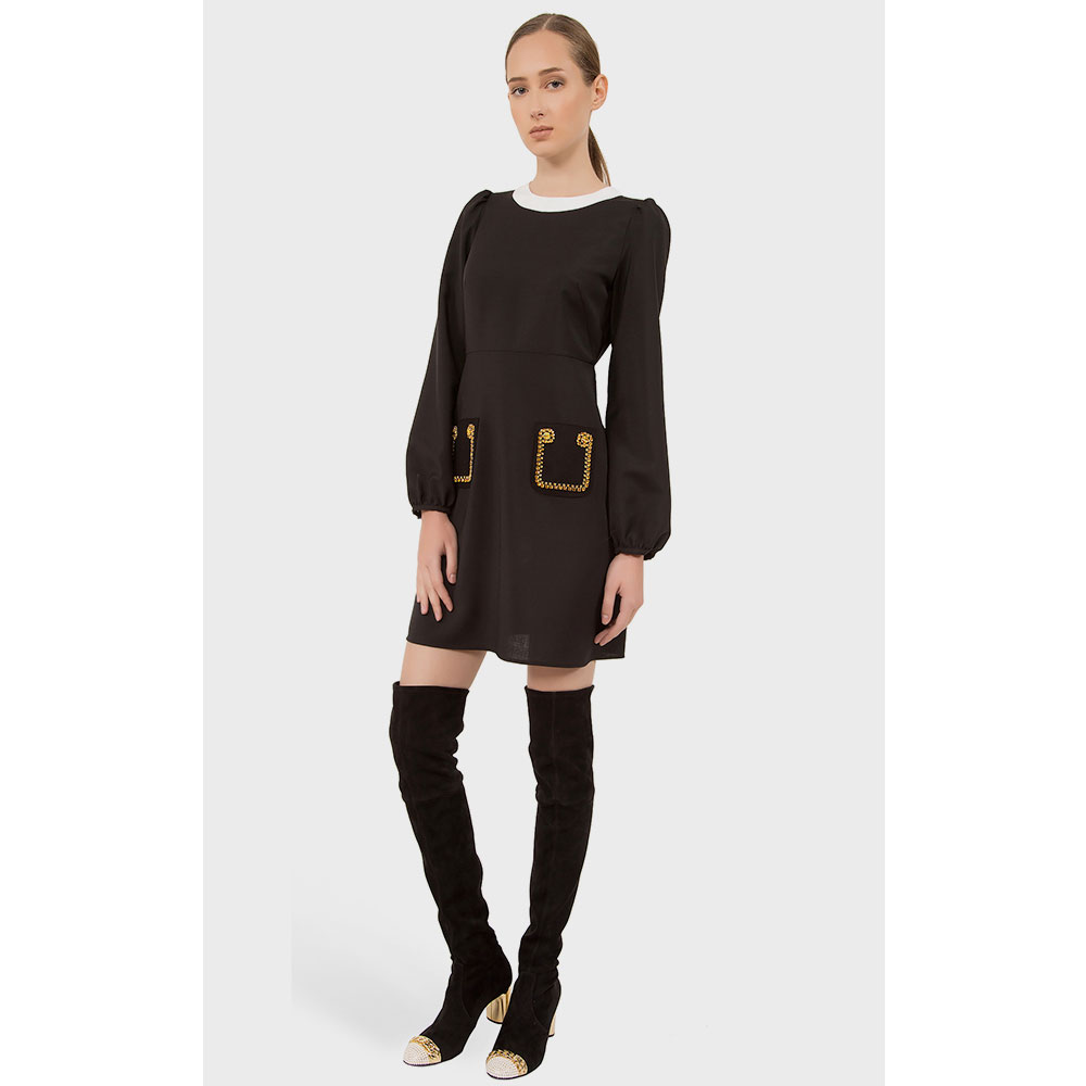 Платье N21 черного цвета со стразами